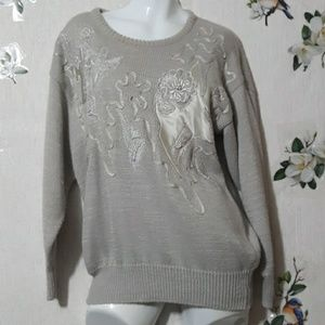 Jaclyn Smith Gray Embroidered Floral Sweater S